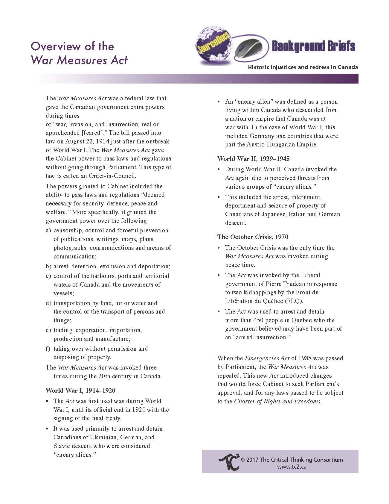 define war measures act