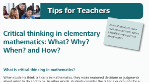 Critical thinking in elementary mathematics: What? Why? When? and How?