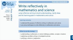 Write reflectively in mathematics and science