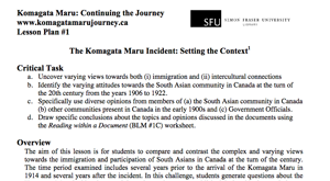 Komagata Maru lesson plans